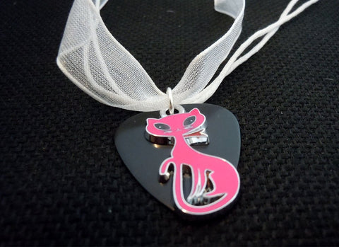 Pink Cat Charm with a Black Guitar Pick on a White Ribbon Necklace