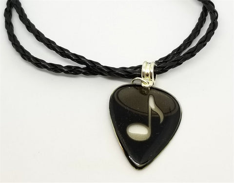 Music Note on Transparent Guitar Pick on a Braided Black Leather Cord Necklace