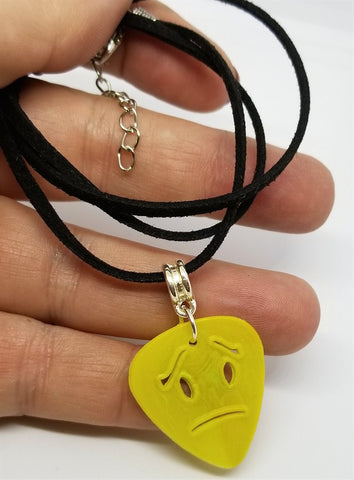 Frowny Face Emoji Cut Out Guitar Pick with Black Suede Cord Necklace