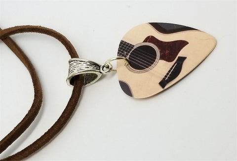 Acoustic Guitar Guitar Pick Necklace on Brown Suede Cord