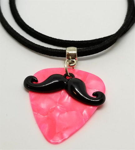 Black Mustache Charm with a Pink MOP Guitar Pick on a Black Suede Cord Necklace