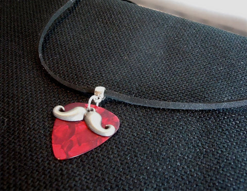 Mustache Charm with a Red MOP Guitar Pick on a Black Suede Cord Necklace