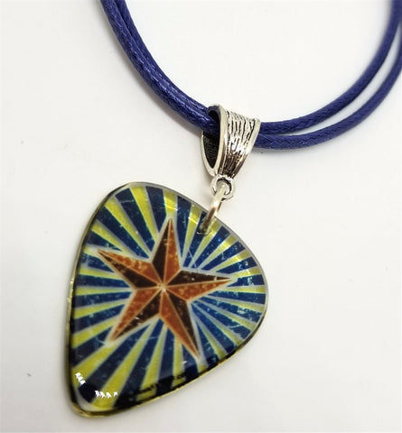 Star on A Transparent Guitar Pick Necklace on Rolled Blue Cord