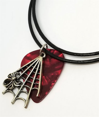 Spiderweb Charm with a Red MOP Guitar Pick on a Rolled Black Cord Necklace