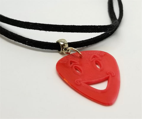 Happy Face Emoji Cut Out Guitar Pick with Black Suede Cord Necklace