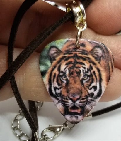 Tiger Guitar Pick Necklace on Brown Suede Cord
