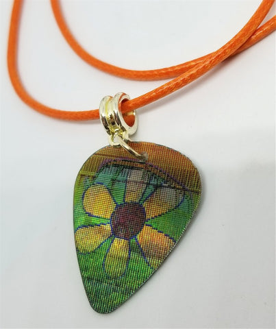 Hippie Holographic Guitar Pick on a Rolled Orange Cord Necklace