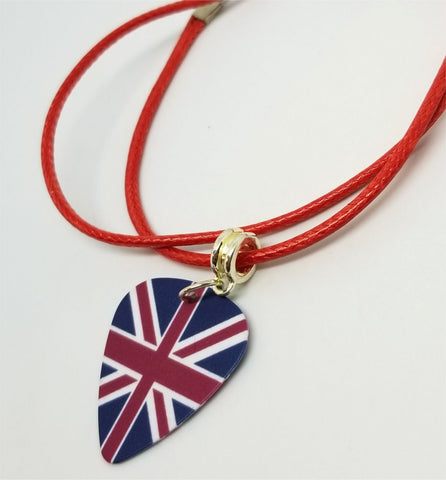 British Flag Guitar Pick Necklace on Red Rolled Cord
