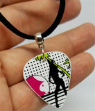 Playboy Bunny Silhouette Guitar Pick Necklace on Black Suede Cord