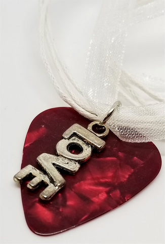 Love Text Charm on a Red MOP Guitar Pick and White Ribbon Necklace