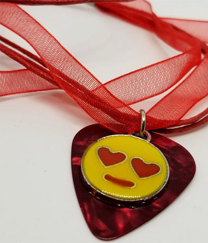 Emoji Charm with a Red MOP Guitar Pick on a Red Ribbon Necklace