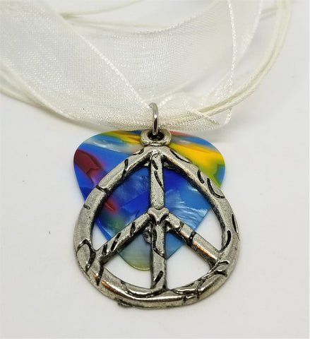 Peace Sign Charm on a MultiColor Guitar Pick and White Ribbon Necklace