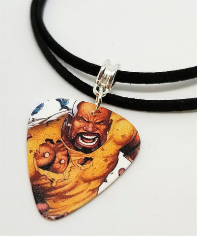Luke Cage Guitar Pick Necklace on Black Suede Cord