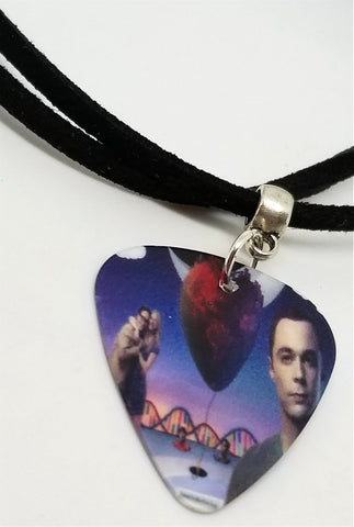 Big Bang Theory Guitar Pick Necklace on Black Suede Cord