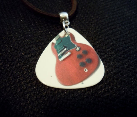 Electric Guitar Guitar Pick Necklace on Brown Suede Cord