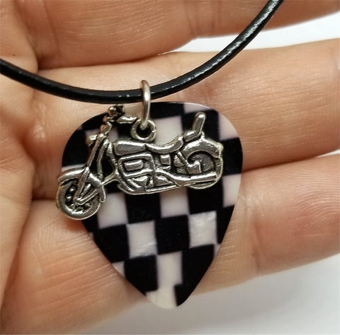 Motorcycle Charm with a Checkered MOP Guitar Pick on a Rolled Black Leather Cord Necklace