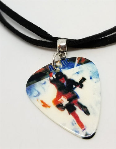 AC/DC Angus Young Guitar Pick Necklace on Black Suede Cord