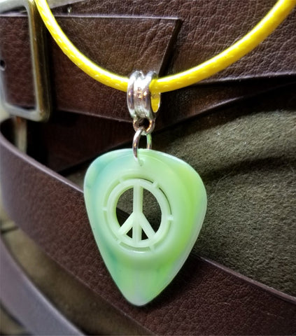 Peace Sign Cut Out Green Guitar Pick with Yellow Rolled Cord Necklace