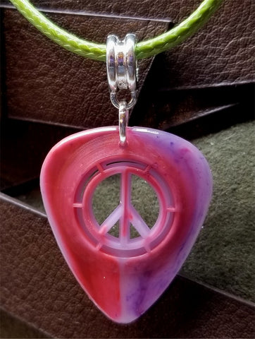 Peace Sign Cut Out Pink and Blue Guitar Pick with Green Rolled Cord Necklace