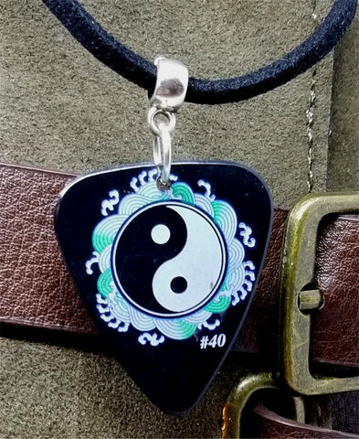 Yin and Yang Guitar Pick Necklace on Black Suede Cord