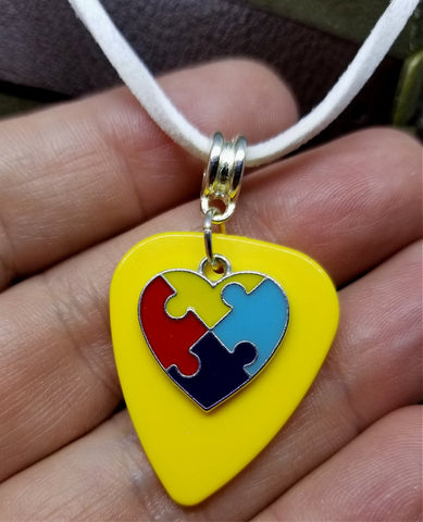 Autism Awareness Heart Charm on Yellow Guitar Pick on White Suede Cord