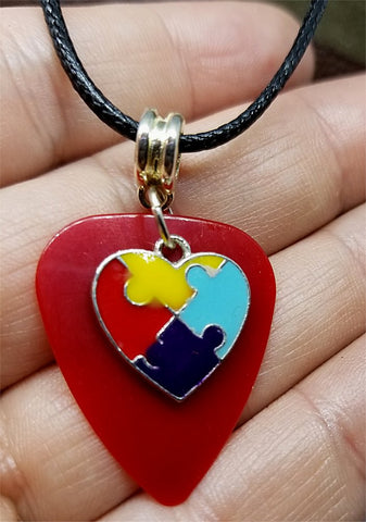 Autism Awareness Heart Charm on Red Guitar Pick on Rolled Black Cord