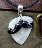 Black Mustache Charm with a White MOP Guitar Pick on a Black Suede Cord Necklace