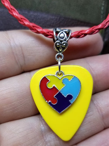 Autism Awareness Heart Charm on Yellow Guitar Pick on Red Braided Leather Cord