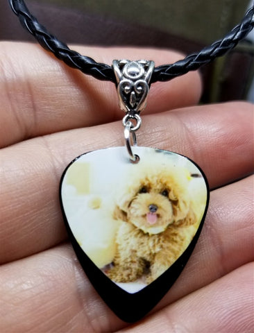 Fluffy Apricot Poodle Guitar Pick Necklace on Black Braided Cord