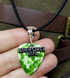 Air Force Wife Charm on Camo Guitar Pick Necklace with Black Suede Cord