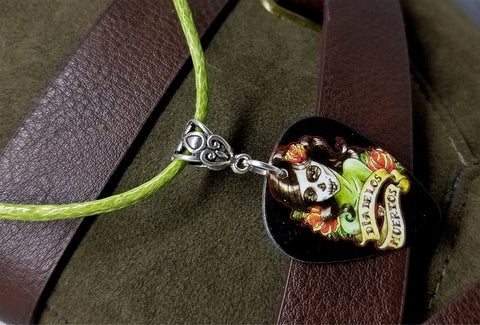 Sugar Skull Woman Guitar Pick on a Green Rolled Cord Necklace