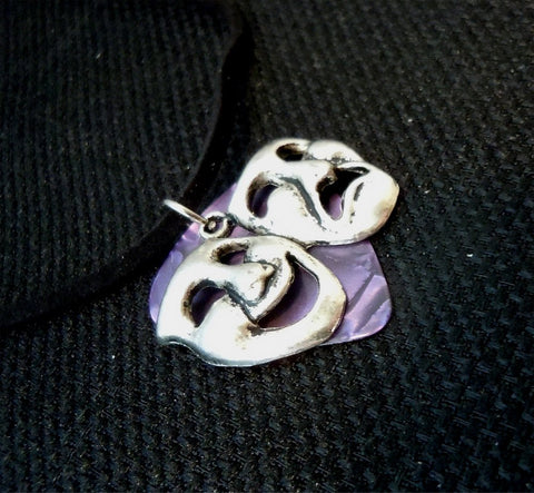 Theater Masks Charm with a Purple MOP Guitar Pick on a Black Suede Cord Necklace