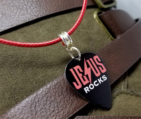 Jesus Rocks Guitar Pick Necklace with Red Rolled Cord