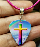 God's Promise Cross with Rainbow Guitar Pick Necklace with Hot Pink Rolled Cord