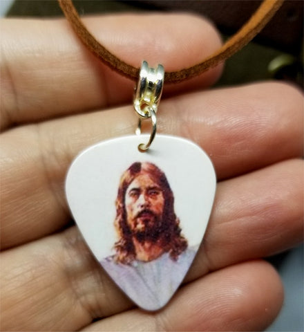 Jesus Guitar Pick Necklace with Brown Suede Cord