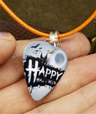 Happy Halloween Haunted House Guitar Pick and Rolled Orange Cord Necklace