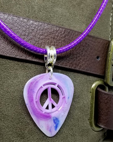 Peace Sign Cut Out Shades of Purple Guitar Pick with Purple Rolled Cord Necklace