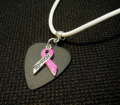 Pink Ribbon Survivor Charm on Black Matte Guitar Pick Necklace on Rolled White Cord