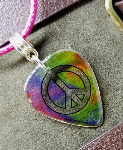 Transparent Tie Dye Peace Sign Guitar Pick on a Hot Pink Rolled Cord Necklace