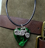 Motorcycle Charm on a Green MOP Guitar Pick Necklace with a Rolled Black Leather Cord