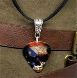 Flag of Puerto Rico Over Skull Guitar Pick Necklace on Black Suede Cord
