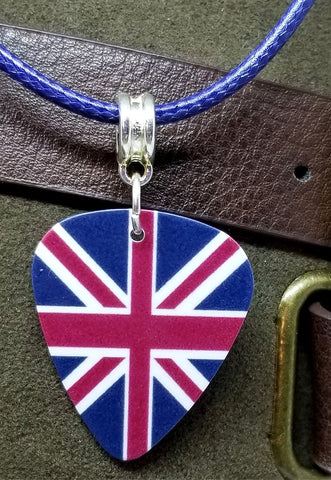 British Flag Union Jack Guitar Pick Necklace with Rolled Blue Cord
