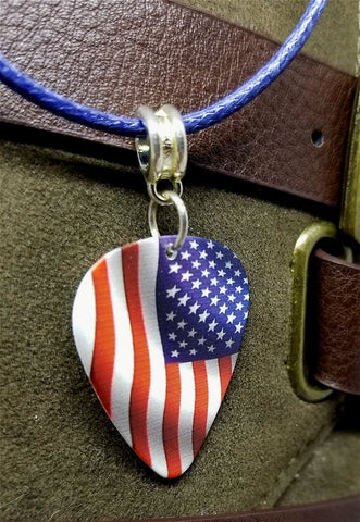 American Flag Guitar Pick Necklace with Rolled Blue Cord
