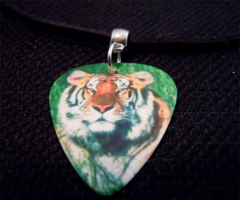 Tiger Guitar Pick Necklace on Black Suede Cord