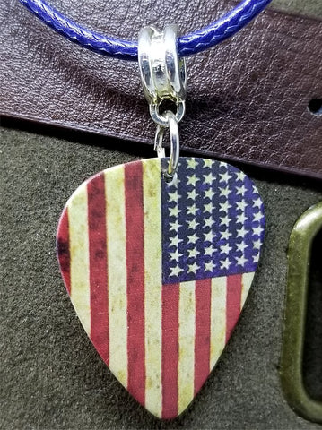 American Flag Distressed Guitar Pick Necklace with Rolled Blue Cord