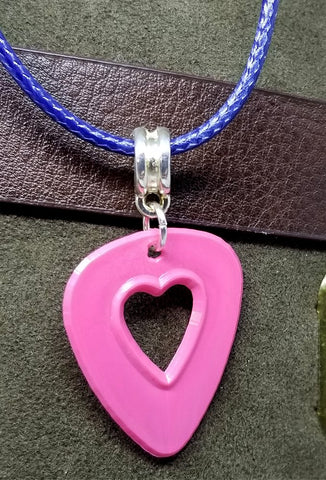 Heart Cut Out Pink Guitar Pick Necklace with Blue Rolled Cord