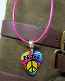 Tie Dye Peace Sign Guitar Pick on a Hot Pink Rolled Cord Necklace