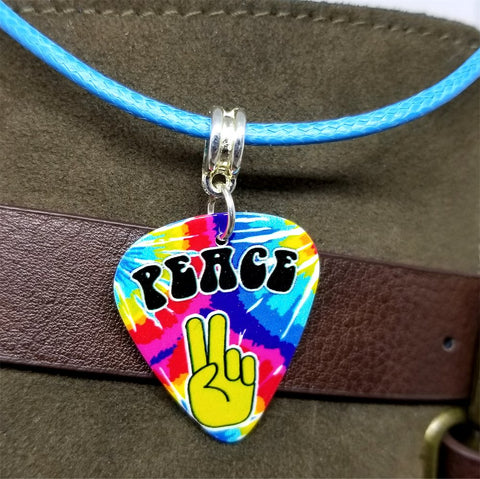 Tie Dye Peace Sign Fingers Guitar Pick on a Blue Rolled Cord Necklace