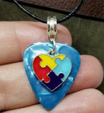 Autism Awareness Heart Charm on Aqua Guitar Pick Necklace on Black Rolled Cord