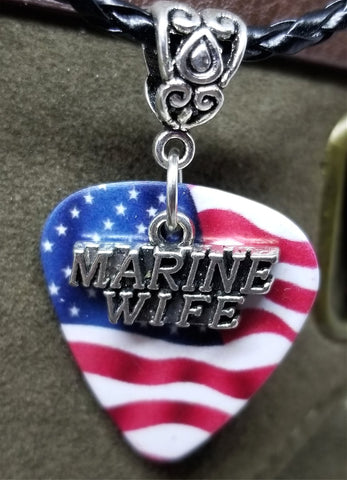 Marine Wife Charm on American Flag Guitar Pick Necklace on Black Braided Cord